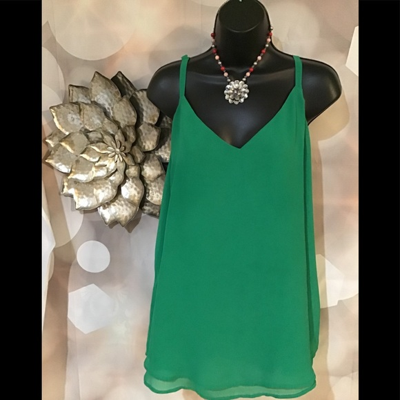 e2728e2dff97bf Kelly Green Double layer Chiffon Look tank top. M 5b25efb4035cf141d240985c